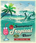 Vintage seaside tropical bar sign — Stock Vector