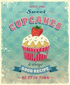 Retro cupcake poster vector illustration — Stock Vector