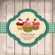Illustration of vintage retro frame with cupcakes design — Stock Vector #25281551