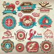 Collection of vintage retro grunge seafood restaurant labels, badges and icons — Vecteur #25281847
