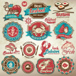 Collection of vintage retro grunge seafood restaurant labels, badges and icons — Image vectorielle