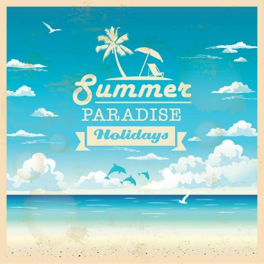 Summer beach vector background in retro style