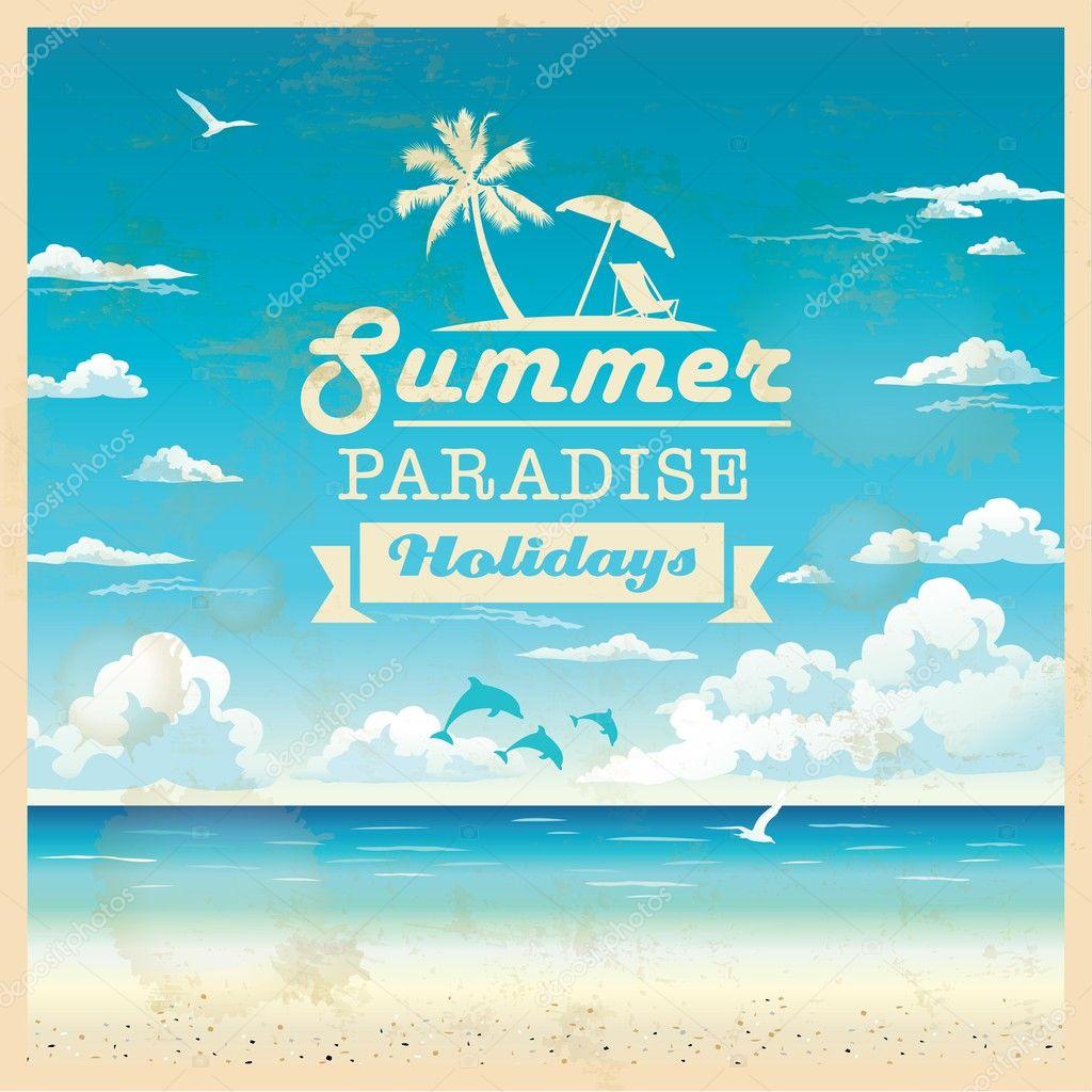 Vintage Beach Background Stock Photo 112981333: Summer Beach Vector Background In Retro Style