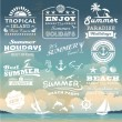 Vintage summer typography design with labels, icons elements collection — Stock Vector