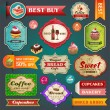 Collection of vintage retro bakery labels, badges and ribbons — Stock Vector #26302519