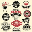Collection of vintage retro BBQ badges and labels - Векторная иллюстрация