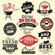 Stock Vector: Collection of vintage retro BBQ badges and labels