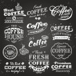 Collection of coffee shop sketches, labels and typography design on a chalkboard background — Grafika wektorowa