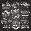 Collection of coffee shop sketches, labels and typography design on a chalkboard background — Stockvectorbeeld