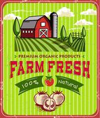 Vintage Farm Fresh Poster Design — Stock Vector