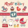 Set of retro style design elements for royal baby — Imagen vectorial