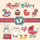 Set of retro style design elements for royal baby — Stock Vector