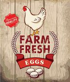 Retro Fresh Eggs Poster Design With Wooden Background — Stock Vector