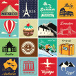 Set of vintage retro vacation and travel label cards and symbols — Stock Vector #29143567