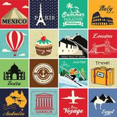 Set of vintage retro vacation and travel label cards and symbols — Stock Vector