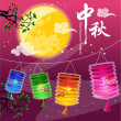 Stock Vector: Mid Autumn Festival vector background with lantern