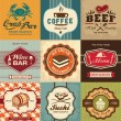 Stock Vector: Set of vintage retro labels for food