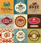 Set of vintage retro labels for food — Stock Vector