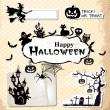 Collection of vector grunge halloween labels, stickers and icons — Stock Vector #30653375