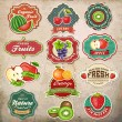 Collection of vintage retro grunge fresh fruit design elements — Image vectorielle
