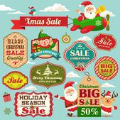 Christmas sale tags, labels and illustrations design elements collection — Stock Vector