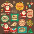 Collection of Christmas ornaments and decorative elements, vintage frames, labels, stickers — Stok Vektör
