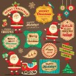 Collection of Christmas ornaments and decorative elements, vintage frames, labels, stickers — Vecteur