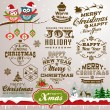 Collection of Christmas design elements with vintage labels, icons and typography design — Stock Vector