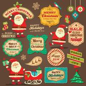 Collection of Christmas ornaments and decorative elements, vintage frames, labels, stickers — Stock Vector