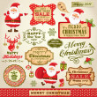 Set of Cute Santa Claus, Christmas design elements with vintage labels, icons and illustrations — Stock Vector