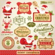 Stock Vector: Set of Cute Santa Claus, Christmas design elements with vintage labels, icons and illustrations