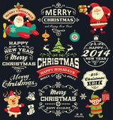 Christmas and New Year labels, icons and elements vector collection — Stock Vector