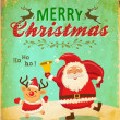 Vintage Christmas card with cute Santa claus and Christmas reindeer — Stock Vector #36083613