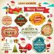 Set of Santa Claus, Christmas elf with vintage labels, ornaments and icon elements for Christmas — Stok Vektör