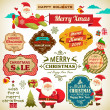 Set of Santa Claus, Christmas elf with vintage labels, ornaments and icon elements for Christmas — 图库矢量图片