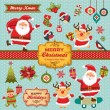 Christmas characters, labels, icons elements collection — Stock Vector #36960891