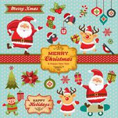 Christmas characters, labels, icons elements collection — Wektor stockowy