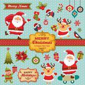 Personagens de Natal, etiquetas, coleção de elementos de ícones — Vetor de Stock
