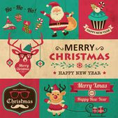 Vector collection of vintage Christmas symbols, icons and hipster elements — Wektor stockowy