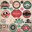 Collection of vintage retro grunge coffee and restaurant labels, badges and icons — Stock Vector #41237857