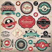 Collection of vintage retro grunge coffee and restaurant labels, badges and icons — Stock Vector