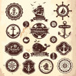Collection of vintage retro nautical labels, badges and icons — Stock Vector #41894561
