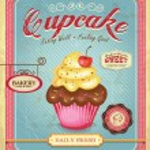 Cupcake poster design in retro style — Stock Vector