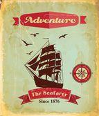 Yelkenli gemi ile retro Vintage deniz poster — Stok Vektör