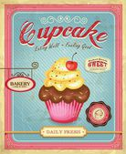 Cupcake poster design in retro style — Stock Vector