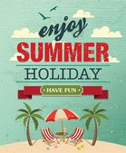 Summer beach vector background in retro style — Stock Vector