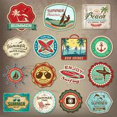 Collection of vintage retro grunge summer labels, labels, badges and icons — Stock Vector