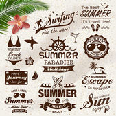 Vintage summer design with labels, icons elements collection — Stock Vector