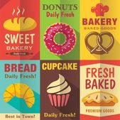 Bakery posters set with flat design. Vector background — Vettoriale Stock