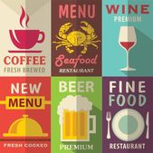 Restaurant posters set with flat design. Vector background — Stockvektor